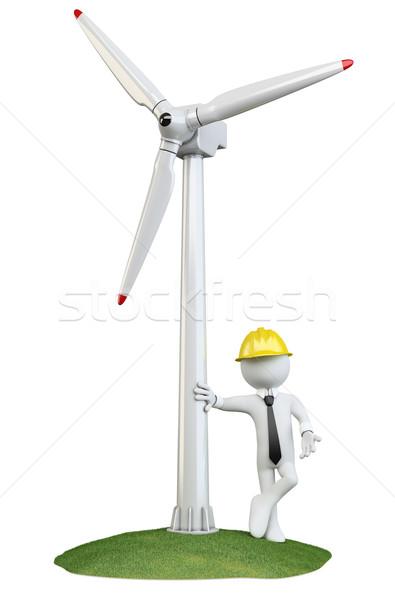 Férfi dől szélturbina renderelt magas döntés Stock fotó © texelart