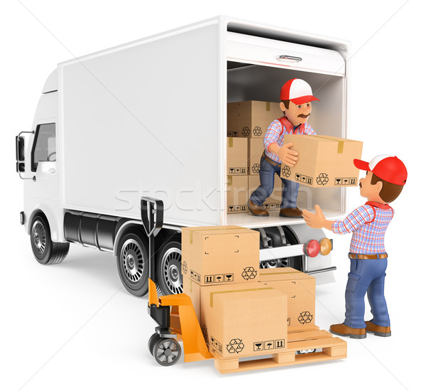 3D Workers unloading boxes from a truck Stock photo © texelart