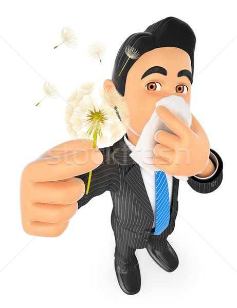 3D Businessman with pollen allergy Stock photo © texelart