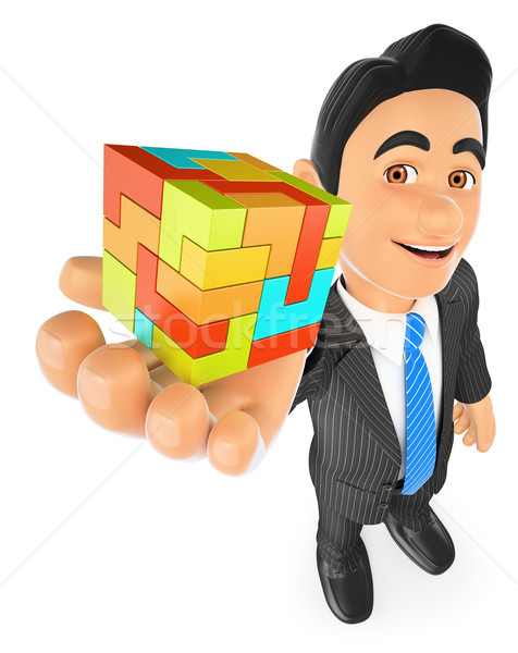 3D Businessman with a cube. Create concept Stock photo © texelart