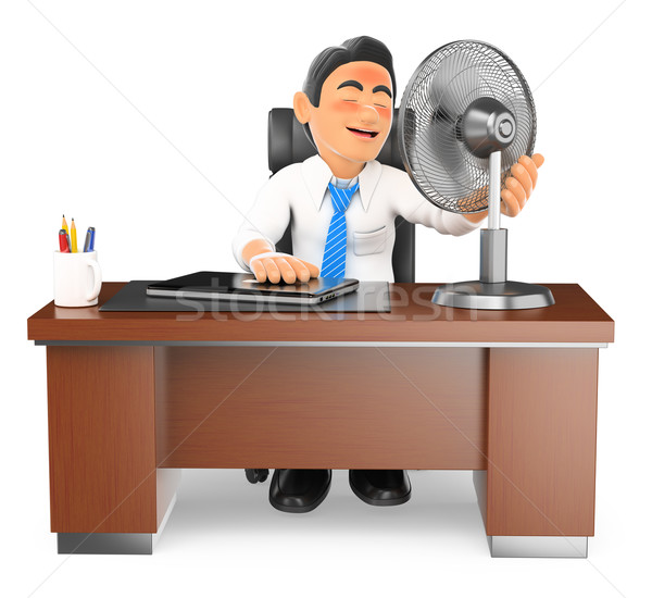 3D Businessman heated in his office with a fan Stock photo © texelart