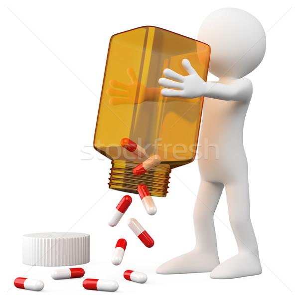 3D Doctor emptying a bottle of pills Stock photo © texelart