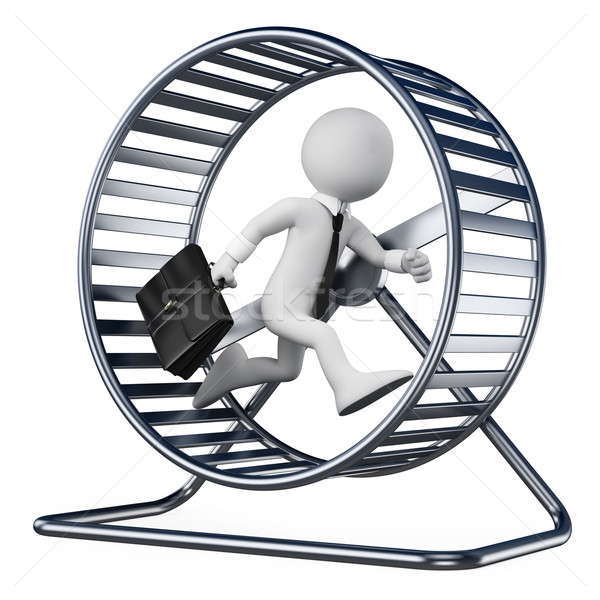 3D white people. Businessman in a hamster wheel Stock photo © texelart