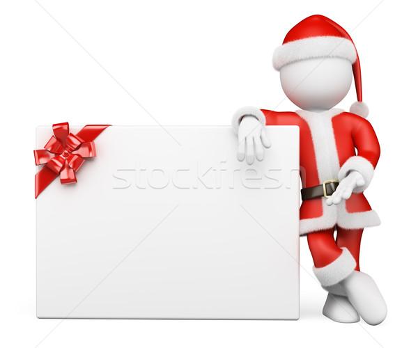 Stockfoto: 3D · witte · mensen · kerstman · banner · lint