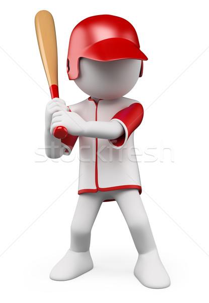 3D pessoas brancas jogador de beisebol pronto bat isolado Foto stock © texelart