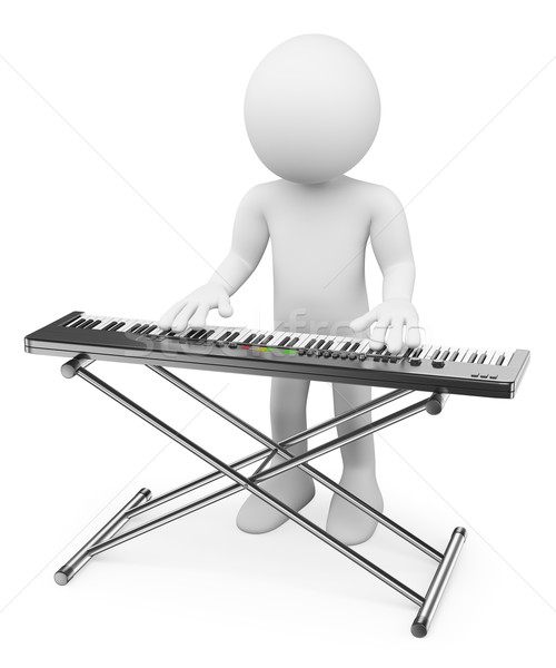Stock photo: 3D white people. Musician playing keyboard. Piano