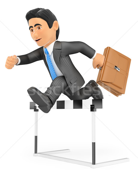 3D Businessman in a hurdle race. Overcoming concept Stock photo © texelart