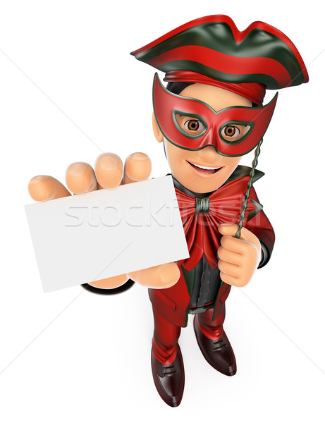 3D Man with a carnival costume showing a blank card Stock photo © texelart