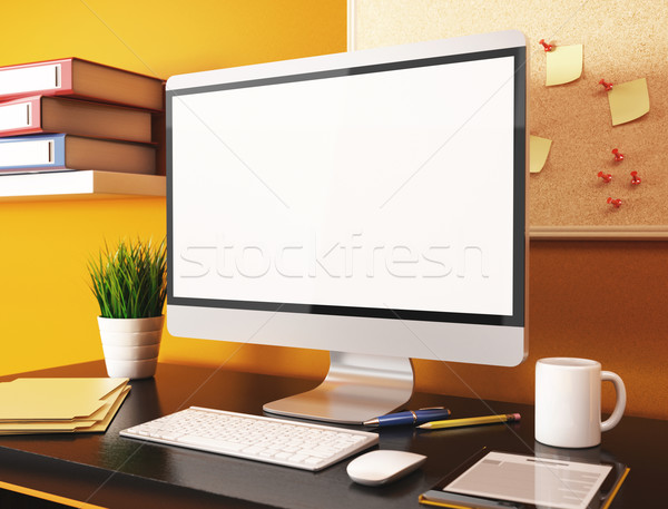 3D Office with blank computer screen. Mockup Stock photo © texelart