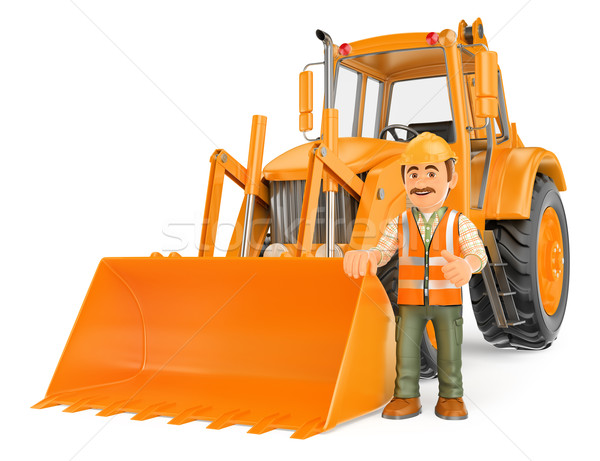 3D Construction worker with a backhoe Stock photo © texelart