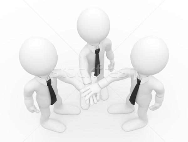 Três homens aperto de mãos para cima prestados Foto stock © texelart