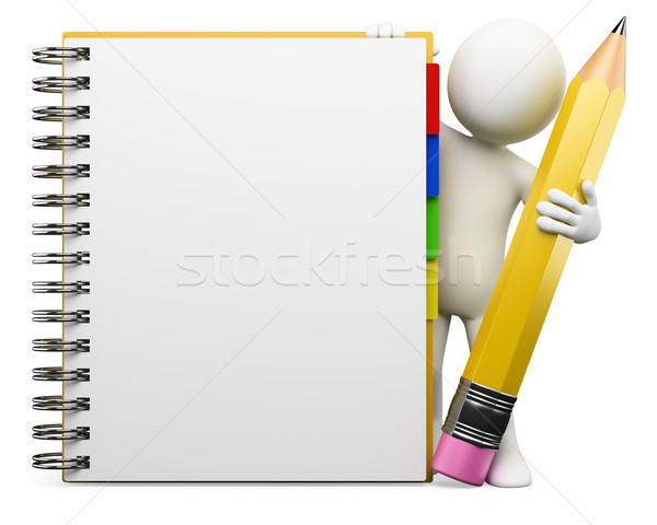 3D blancs notepad blanche personne spirale Photo stock © texelart