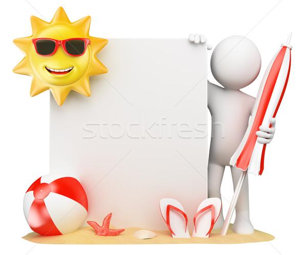 Foto stock: 3D · pessoas · brancas · verão · papel · em · branco · sol · bola · de · praia