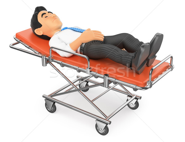 3D Businessman lying on a stretcher in the hospital Stock photo © texelart