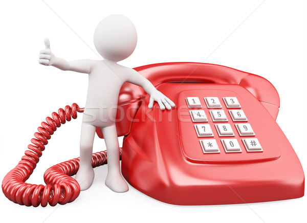3D man with a huge red phone Stock photo © texelart