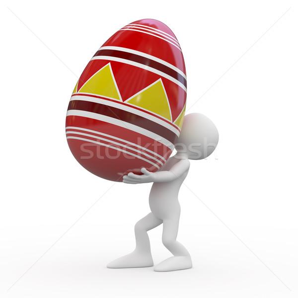 Stockfoto: Man · reusachtig · easter · egg · gerenderd · hoog