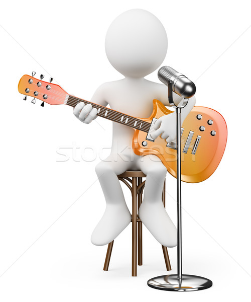 3D witte mensen zanger gitarist rock rollen Stockfoto © texelart