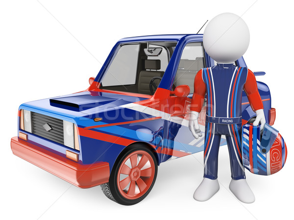 Stock photo: 3D white people. Racing driver with his car