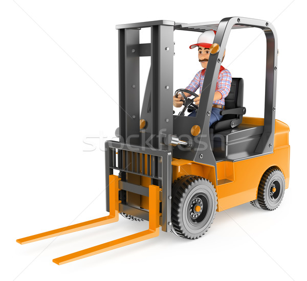 3D Worker driving a forklift unloaded Stock photo © texelart