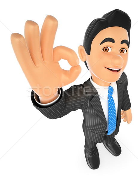 3D Businessman with ok sign in hand Stock photo © texelart