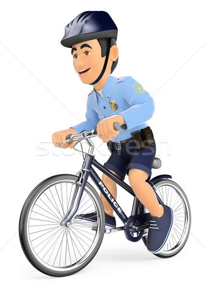3D Policeman on bicycle Stock photo © texelart