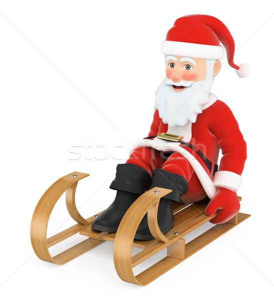 3D papai noel trenó equitação natal pessoas Foto stock © texelart