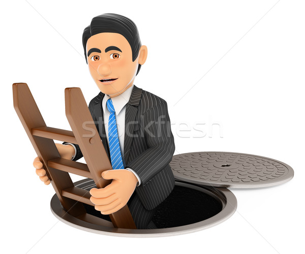 3D Businessman going down to the sewers. Dark side Stock photo © texelart