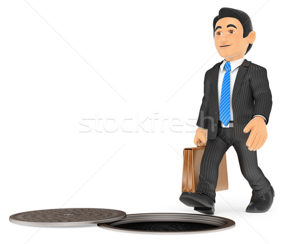 3D Businessman about to fall by an open sewer. occupational risk Stock photo © texelart