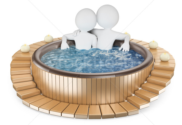 3D white people. Couple relaxing in a jacuzzi Stock photo © texelart