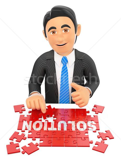 3D Businessman solving a puzzle. Solution concept Stock photo © texelart