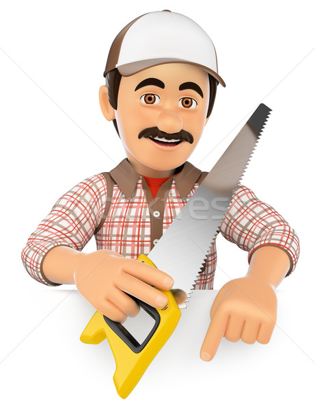 3D Carpenter with saw pointing down. Blank space Stock photo © texelart
