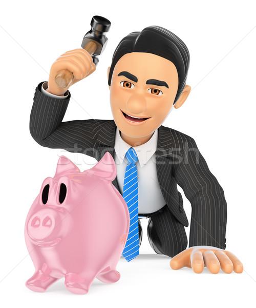 3D Businessman breaking a piggy bank. Spend savings Stock photo © texelart