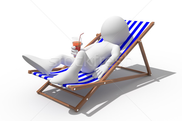 Tourist lying on a deck chair drinking a soda Stock photo © texelart