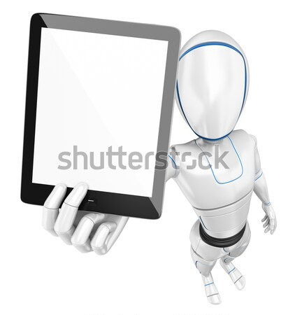 Stock photo: 3D Businessman - Tablet