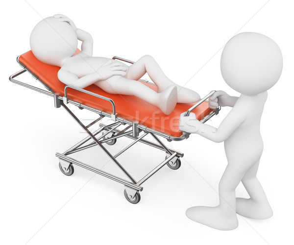 3D white people. Nurse carrying a patient on a stretcher Stock photo © texelart
