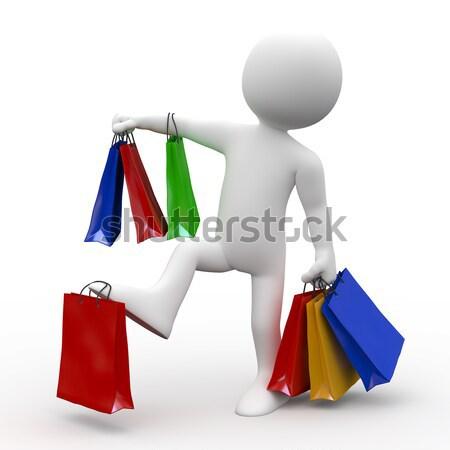 3D biali ludzie zakupy kobieta torby moda Zdjęcia stock © texelart