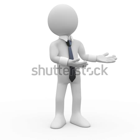 Stock photo: Businessman still, pointing with both hands to the side