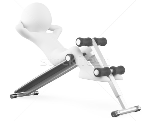 Athlete in a sit-ups bench front view Stock photo © texelart
