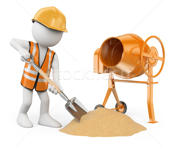 3D white people. Construction worker with a shovel and a concret Stock photo © texelart