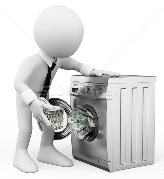 3D white people. Money laundering concept. Business metaphor Stock photo © texelart