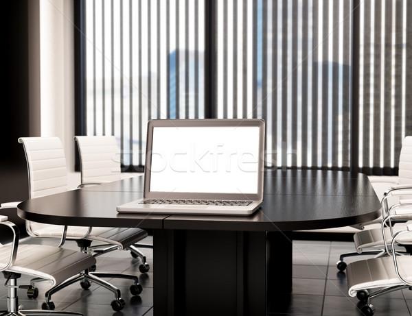 3D Modern meeting room with blank laptop screen. Mockup Stock photo © texelart