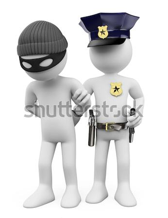 Stock photo: 3D police with gun and nightstick ordering to stop
