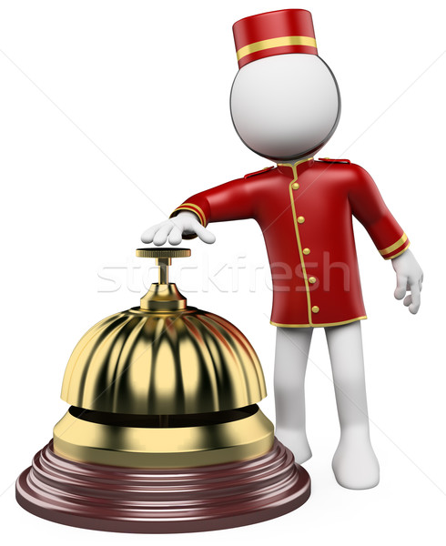 3D white people. Hotel reception bell Stock photo © texelart