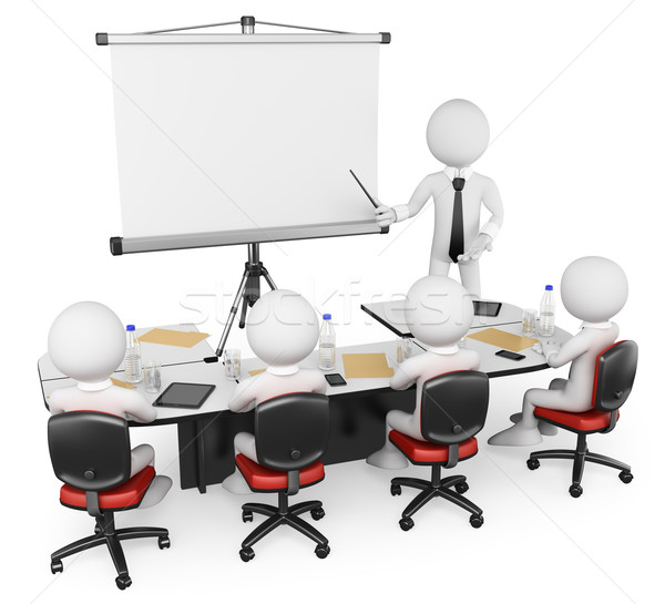 Stock photo: 3D white people. Business workshop