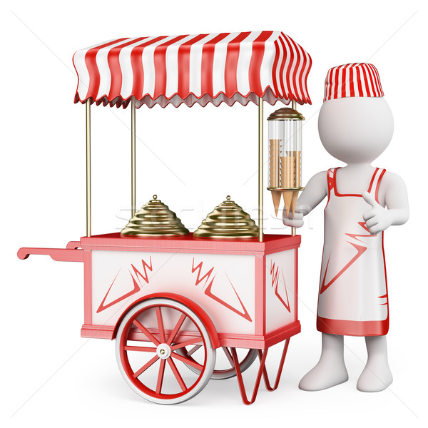 3D white people. Traditional ice cream cart Stock photo © texelart