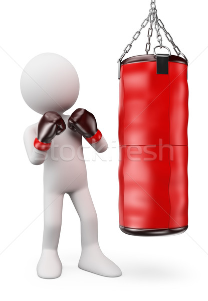 3D white people. Boxer hitting a punching bag Stock photo © texelart
