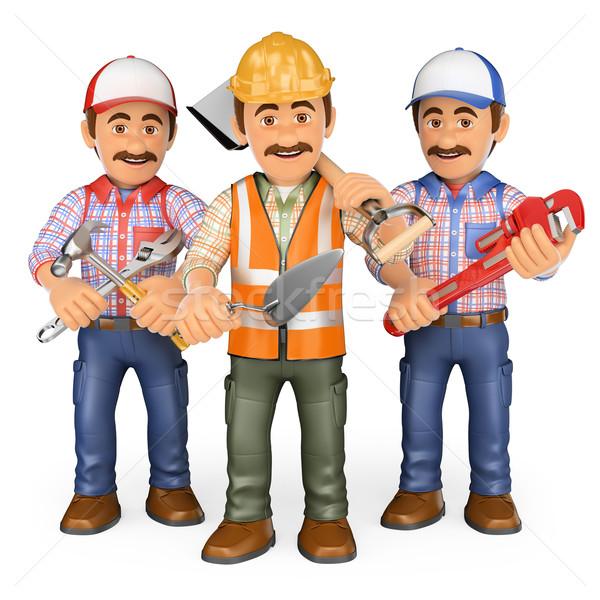 3D Workers. Team of work Stock photo © texelart