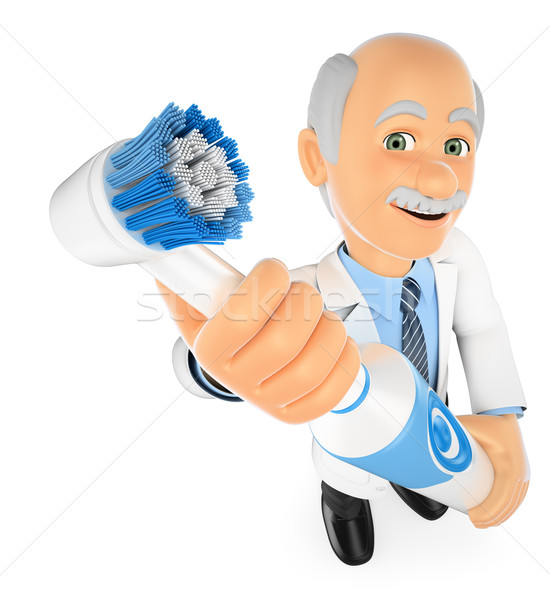 3D Dentist with a electric toothbrush Stock photo © texelart