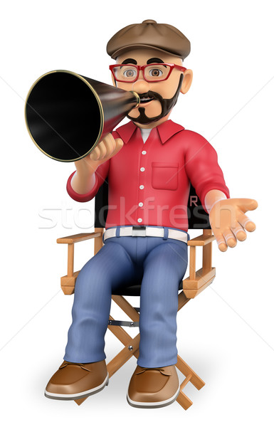 3D Film director sitting in his chair with a megaphone Stock photo © texelart