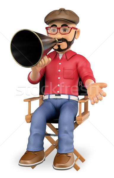 3D фильма директор сидят Председатель мегафон Сток-фото © texelart